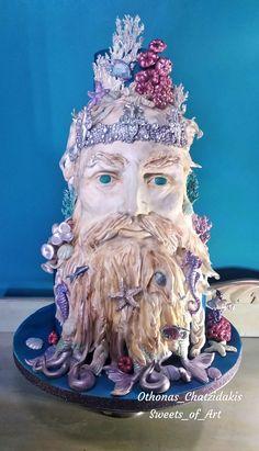 Sculpture of Neptune by Othonas Chatzidakis Modeling Paste, 3d Cakes, Unique Cakes, Cake Art, Folklore, Daily Inspiration, Amazing Cakes, Sculpting, Cake Decorating