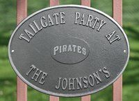 Personalized Pirates Oval Name Plaque by Riddell. $69.99. Cast iron personalized team logo name plaque.