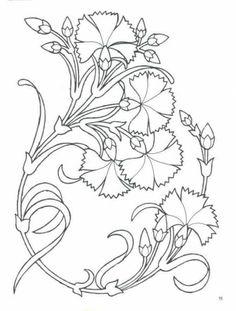 Grand Sewing Embroidery Designs At Home Ideas. Beauteous Finished Sewing Embroidery Designs At Home Ideas. Motifs Art Nouveau, Motif Art Deco, Art Nouveau Design, Art Nouveau Flowers, Art Nouveau Pattern, Crewel Embroidery, Hand Embroidery Patterns, Floral Embroidery, Machine Embroidery