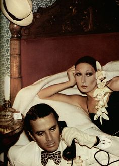 Anjelica Huston and Manolo Blahnik by David Bailey for Vogue UK January 1974.