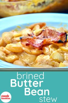 This warm and hearty bean casserole is easily made with baked butter beans that have been brined overnight. Topped off with crispy and salty pieces of bacon, it's delicious enough to feed a crowd. #cookbookies #beans #butterbeans #bakedbeans #casserole #comfortfood #southernfood #beanrecipes