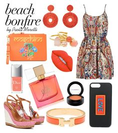 """""""Summer Night by Paola Moretti"""" by paola-moretti on Polyvore featuring Sophia Webster, Moschino, Fendi, Kenneth Jay Lane, Kate Spade, Hermès, Christian Dior, Lime Crime and MAC Cosmetics"""