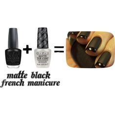 Matte Black French Manicure Tutorial by beautystoredepot, via Polyvore