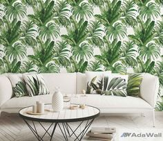 Tropical Palm Tree Pattern Peel and Stick Wallpaper Wallpaper Panels, Modern Wallpaper, Vinyl Wallpaper, Colorful Wallpaper, Peel And Stick Wallpaper, Cheap Wallpaper, Designer Wallpaper, Botanical Wallpaper, Flower Wallpaper