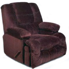 "American Furniture Rocker Recliner. The comfort aspect is enhanced by a rich, chocolate brown cover that will add a nice touch to any decor and the back is designed with ""sink into"" comfort while the heavily padded chaise gives great support in the leg area."