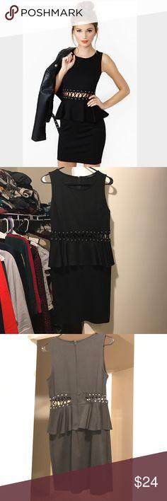 Black Lace-Up Cut-Out Mini Dress Fun little black dress /// Fitted Mini dress with lace up detail at waist and peplum /// in EUC ///  Size Large Nasty Gal Dresses Mini