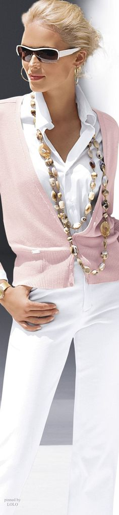 Pink with white and necklace