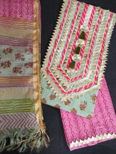 Ethnic elements present gotta work pure cotton kurta bottom with kota doria block print dupatta. Salwar Neck Designs, Neck Designs For Suits, Kurta Neck Design, Back Neck Designs, Dress Neck Designs, Kurta Designs Women, Blouse Designs, Fancy Dress Design, Stylish Dress Designs