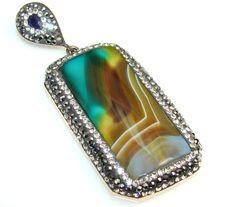 $138.50 Fabulous Secret Of Botswana Agate Sterling Silver Pendant at www.SilverRushStyle.com #pendant #handmade #jewelry #silver #agate
