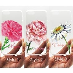 Personalized monogram name floral flower transparent clear case for iPhone 6/4/4S/5/5S/5C Samsung S4 S5 Note3 - Carnation Peony Daisy - L52 sold by UNIQstyle. Shop more products from UNIQstyle on Storenvy, the home of independent small businesses all over the world.