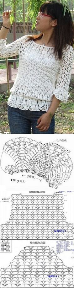Openwork Crochet with his hands Crochet Stitches Chart, Irish Crochet Patterns, Crochet Blouse, Knit Crochet, Crochet Needles, Crochet Woman, Crochet Fashion, Crochet Clothes, Knitting