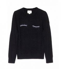 Band of Outsiders Black Eyelash Sweater Warm Sweaters, Black Sweaters, Shirt Embroidery, Embroidered Shirts, Cozy Fashion, Style Fashion, Pullover, Sweater Shirt, Who What Wear