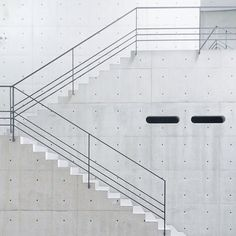 Simple concrete staircase with minimalist railing. Staircase Handrail, Stair Railing, Railing Design, Staircase Design, Railing Ideas, Balustrade Design, Interior Stairs, Interior And Exterior, Architecture Details