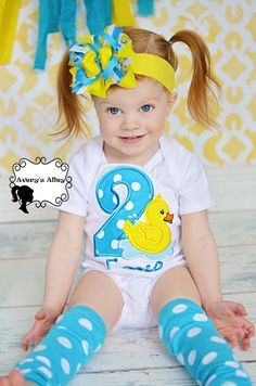 Rubber Duck Birthday - Girls Applique White Shirt Matching Hair Bow Set