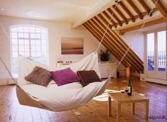 Amazing Bed Hammock. I love the idea of having a hammock somewhere in or around my house.