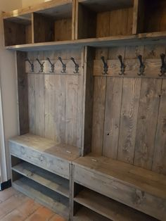 Diy Closet Shelves, Garage Laundry Rooms, Coat Rack With Storage, Timber Frame Homes, Floor Design, Home Goods, Family Room, Trap Decor, Interior