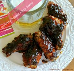 NEW!! Cranberry Balsamic Sticky Wings!! Perfect for fall, tailgating, and upcoming holidays!!