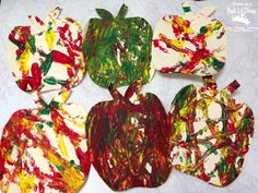 apple roll painting - fun, messy process art for kids to celebrate fall