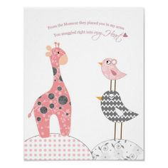 Baby girl nursery art (snuggled into my heart) posters