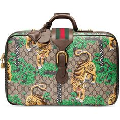 Gucci Gucci Bengal Gg Supreme Suitcase ($1,985) ❤ liked on Polyvore featuring men's fashion, men's bags, accessories, luggage & lifestyle bags, women and gucci