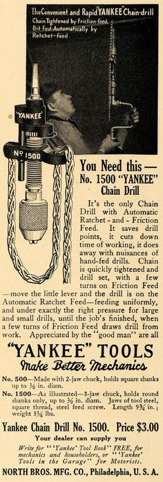 Interesting concept:1915 Ad North Bros. Chain Drill Ratchet Friction Feed - ORIGINAL ADVERTISING TW1