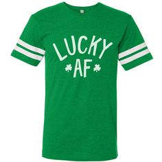 St. Patricks Day Lucky AF (White Ink) Vintage Football T-Shirt Hand... ($18) ❤ liked on Polyvore featuring tops, t-shirts, white tee, vintage tops, green top, vintage tees and white t shirt