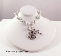 St Dymphna Rosary Bracelet In White  Patron of mental health, stress and anxiety. www.UnbreakableRosaries.com