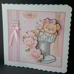 BAPTISM BOWS Christening Day Girl Decoupage Mini Kit on Craftsuprint designed by Janet Briggs - made by Sue Soules