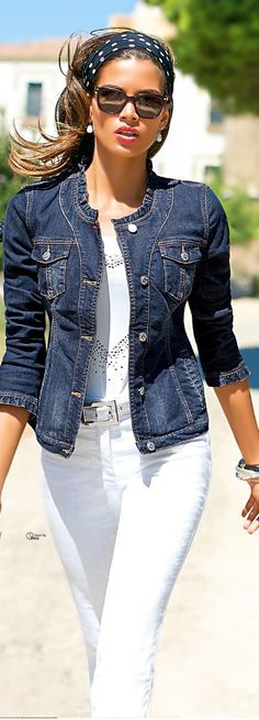 Cute blue denim jacket over all white.