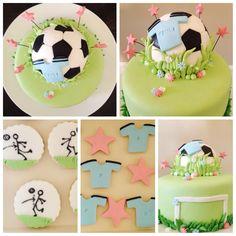 Torta de fútbol para chicas! ... Galletitas camisetas, estrellas y jugadas
