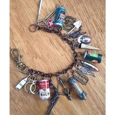 Zombie Apocalypse Charm Bracelet ZA310 ❤ liked on Polyvore featuring jewelry, bracelets, charm jewelry, charm bracelet bangle, charm bracelet jewelry, spikes jewelry and silver charms