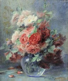 """"""" Still life of roses in a vase: Blanche Odin """" Flower Of Life, Flower Art, Oil Painting For Beginners, Rose Vase, Flowers For You, Arte Floral, Art Graphique, Ink Painting, Vintage Roses"""