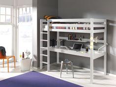 Łóżko  piętrowe dla dzieci z biurkiem Pino - sosna biała