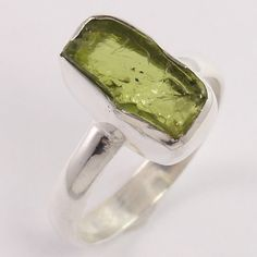 Wholesale Price 925 Sterling Silver Ring Size US 8 Natural PERIDOT Raw Gemstone #Unbranded
