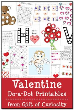 19 Valentine do-a-dot printables designed to help kids practice skills including shapes, patterning, letter recognition, counting, and number recognition.