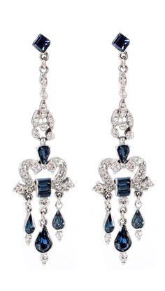 Deco Sapphire Earrings, pewter and crystals, Ben-Amun $170