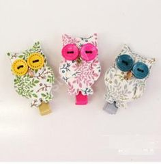 Floral Owl Button Hair Clip For Baby Girls, 20pcs