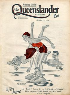 Vintage Reproduction Poster Print -Cover from The Queenslander 1936 - Water Babes   State Library of Queensland Shop