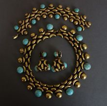 """JOSEFF Parure with  """"Russian Gold"""" and Turquoise Glass Beads"""