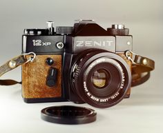 Zenit 12XP Vintage Camera / Black Body / Brown Leather / by LightBurn Restored…
