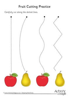 There are four falling orchard fruit pictures on our fruit cutting practice worksheet! Children can cut along the dotted lines to reach the fruit - perfect for Harvest time. Line Tracing Worksheets, Preschool Worksheets, Preschool Learning, Educational Activities, Toddler Activities, Preschool Activities, Physical Activities, Dementia Activities, Educational Websites