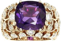Amethyst, Diamond, Gold Ring The ring features a cushion-shaped amethyst measuring 12.40 x 11.98 x 7.32 mm and weighing 6.35 carats, enhanced by full-cut diamonds weighing a total of approximately 1.60 carats, set in 18k gold. Gross weight 14.00 grams.