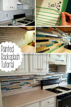 PAINT your backsplash to look like tile... the possibilities are endless! {Sawdust and Embryos}