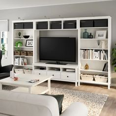 HEMNES TV storage combination, white stain, 128 Sustainable beauty from sustainably-sourced solid pine, a natural and renewable material that gets more beautiful with each passing year. Combine with other products in the HEMNES series. Living Room Built Ins, Living Room Tv, Home And Living, Ikea Hemnes Living Room, Tv Wall Ideas Living Room, Ikea Hemnes Tv Stand, Bookshelves In Living Room, Apartment Living, Ikea Living Room Storage