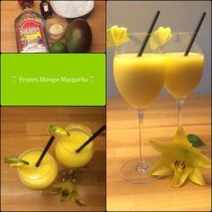 Frozen Mango Margarita 2 Portionen 1reife Mango, Fruchtfleisch davon 1 Limetten, Saft davon 20 g brauner Zucker 20 g Orangenlikör (Contreau) oder Orangensaft 80 gTequila 200 g Crushed Ice Alle Zutat