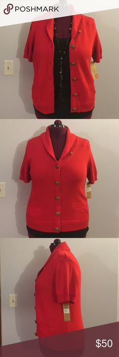"Ralph Lauren Red Short Sleeve Cardigan Sweater Up for grabs is this cardigan sweater from Ralph Lauren - Lauren Jeans Company. It is a size XL (extra large) and measures 26"" from shoulder to hem and has a 42.5"" bust. This sweater is a cardigan style with a v-neckline and short sleeves. It is a heavy knit and has bronze tone nautical buttons. This poppy red cardigan is 100% cotton with small pockets on the hips. It is new with the original tag. Ralph Lauren Sweaters Cardigans"