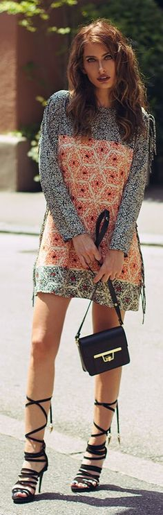 Lace Up Sandals Printed Boho Little Dress by The Pile Of Style