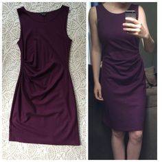 Theory Lightweight Wool Purple Dress Like new condition. 100% wool, very soft and has a good amount of stretch. Slightly too large for me as I've lost some weight so selling. Freshly dry cleaned. Price is FIRM because of the quality, beauty and original price of this dress. Color is a deep wine/purple. No zipper, just slips on and off. Theory Dresses Midi