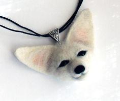 Fennec Fox necklace Fox jewelry Needle felted fennec fox