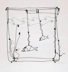 Calder's wire sculptures are whimsical and beautiful in their simplicity.  I was lucky enough growing up in NY to see the Calder retrospective at the Whitney as a kid- mindblowing and fun.
